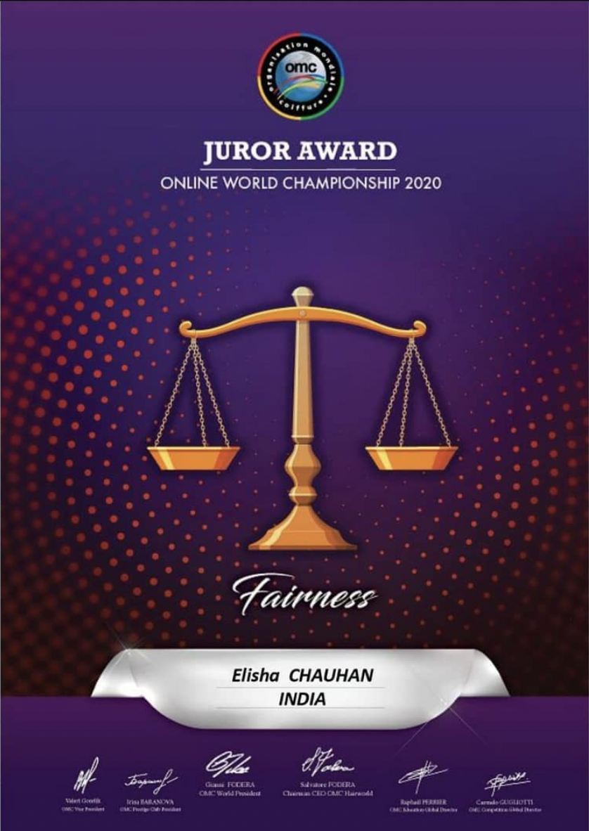 Elisha won Juror Award 2020