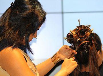 Elisha working on models on Stage