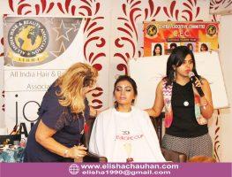 ELisha Chauhan Anchoring and Conducting Makeup Workshop