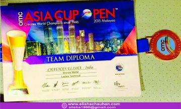 ELisha_s Bronze medal and certificate at OMC Asia Cup 2015