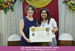 Elisha Chauhan certified by World Champion Sindy