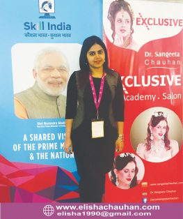 Elisha Chauhan representing her Brand Exclusive Salon _ Academy at Skill India